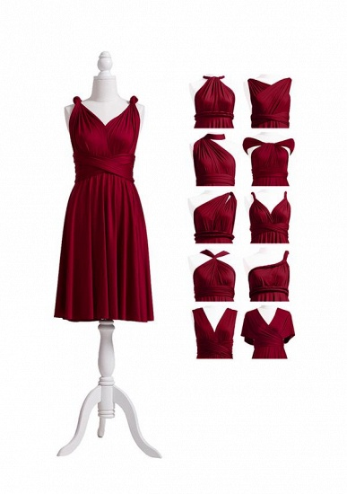 BMbridal Burgundy Multiway Ruffles Infinity A-Line Bridesmaid Dresses_5