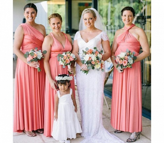 BMbridal Coral Ruffles Multiway Infinity A-Line Bridesmaid Dresses