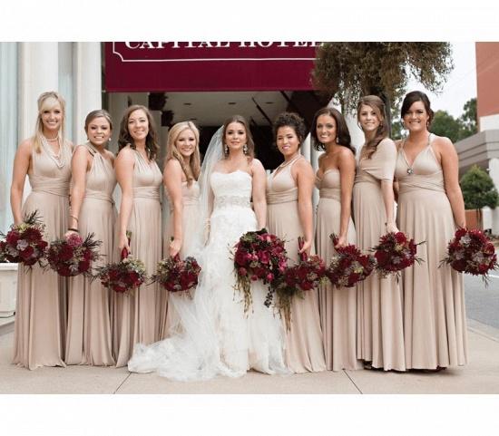 BMbridal Flesh Color Multiway Infinity Ruffles A-Line Bridesmaid Dresses_3