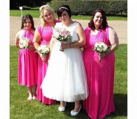 BMbridal Fuchsia Multiway Infinity Ruffles Bridesmaid Dresses_2