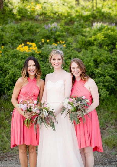 BMbridal Coral Multiway Ruffles Infinity A-Line Bridesmaid Dresses_1