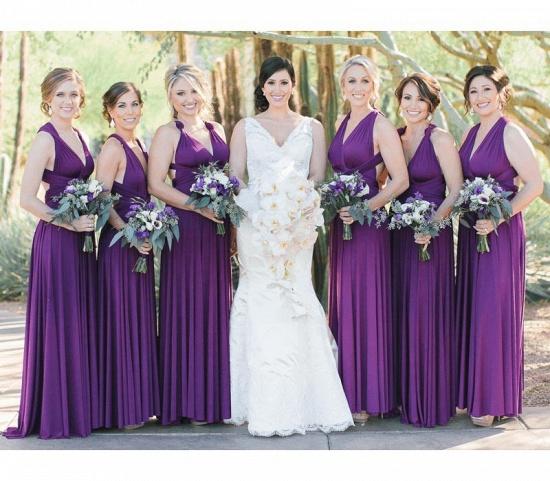BMbridal Sleeveless Purple Multiway Infinity A-Line Bridesmaid Dress