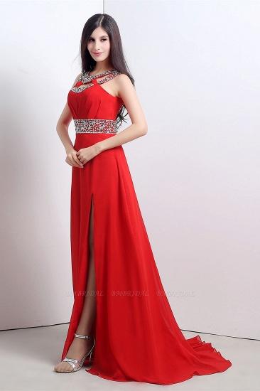 A Line High Slit Long Red Chiffon Beaded Prom Dresses_5