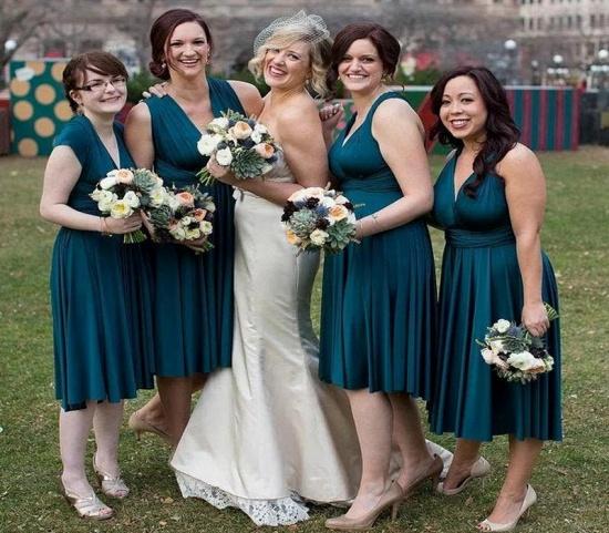 BMbridal Sleeveless Dusty Navy Multiway Infinity Bridesmaid Dress_2