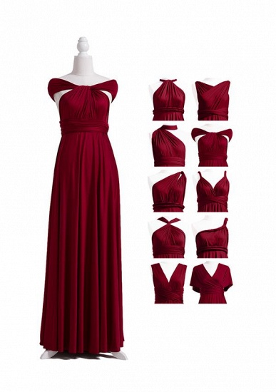 BMbridal Burgundy Multiway Ruffles Infinity A-Line Bridesmaid Dresses_4