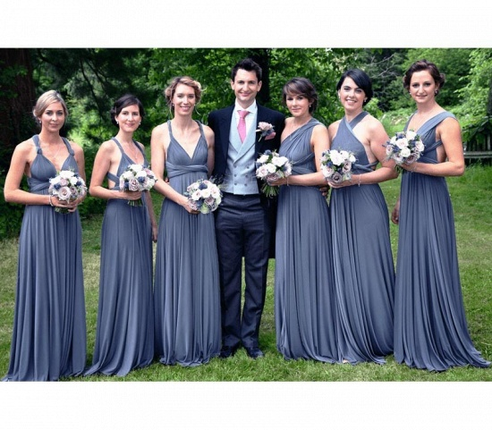 BMbridal Dusty Blue Ruffles Multiway Infinity A-Line Bridesmaid Dresses