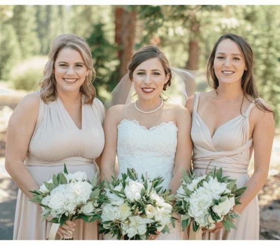 BMbridal Flesh Color Multiway Infinity Ruffles A-Line Bridesmaid Dresses_2