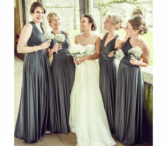 BMbridal Dark Gray Multiway Infinity A-Line Bridesmaid Dress_2