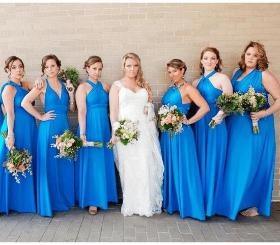 BMbridal Lake Blue Ruffles Multiway Infinity A-Line Bridesmaid Dresses