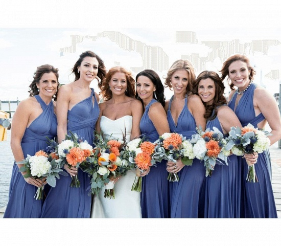 BMbridal Dusty Blue Ruffles Multiway Infinity A-Line Bridesmaid Dresses_2
