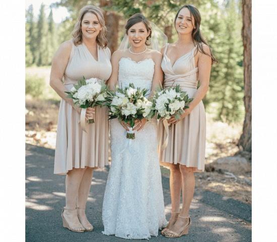 BMbridal Flesh Color Multiway Infinity Ruffles A-Line Bridesmaid Dresses