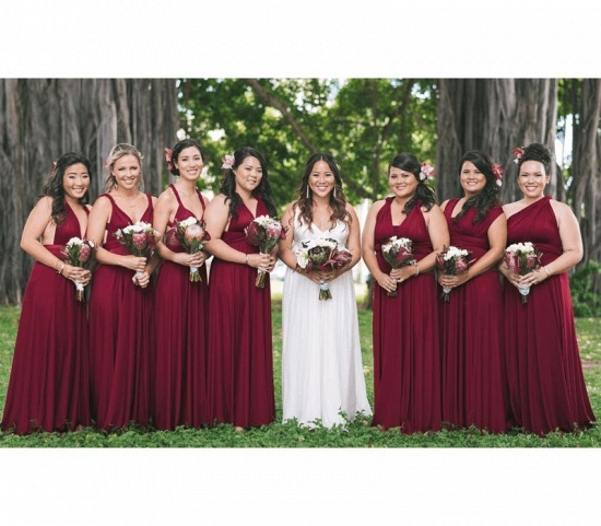 BMbridal Burgundy Multiway Infinity Ruffles A-Line Bridesmaid Dresses_4