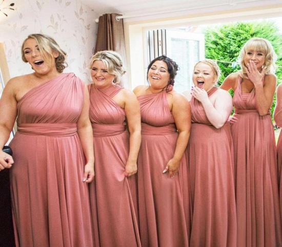 BMbridal Dusty Pink Ruffles Multiway Infinity A-Line Bridesmaid Dresses_3