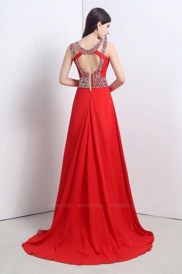 A Line High Slit Long Red Chiffon Beaded Prom Dresses_2
