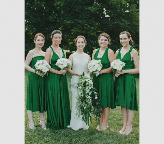 BMbridal Sleeveless Dark Green Multiway Infinity Bridesmaid Dress_2