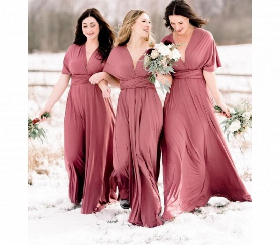 BMbridal Dusty Pink Multiway Ruffles A-Line Bridesmaid Dresses Long_2