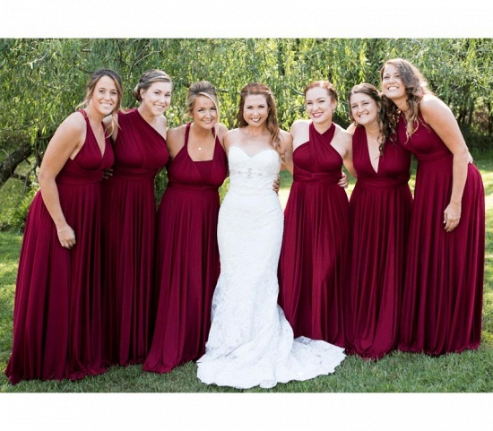 BMbridal Burgundy Multiway Infinity Ruffles A-Line Bridesmaid Dresses_2