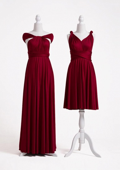 BMbridal Burgundy Multiway Ruffles Infinity A-Line Bridesmaid Dresses_3