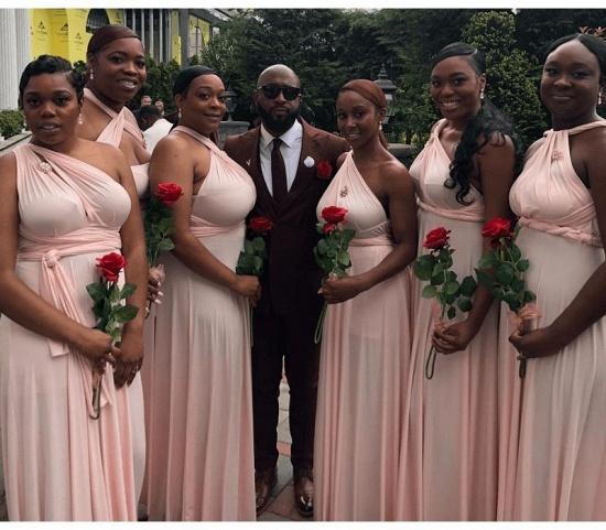 BMbridal Pearl Pink Ruffles Multiway Infinity Bridesmaid Dresses Long_3