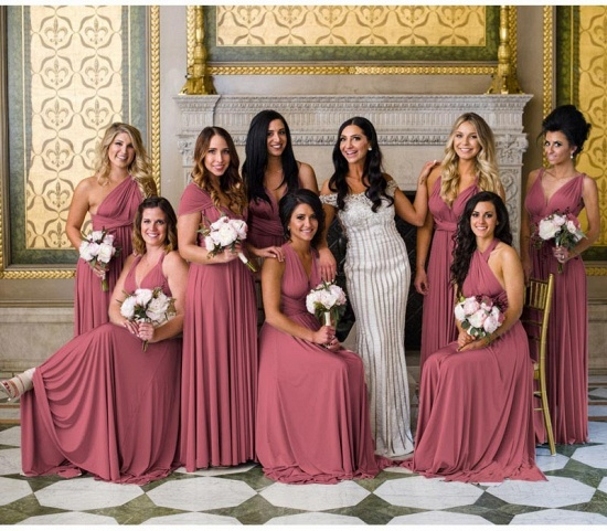 BMbridal Dusty Pink Multiway Ruffles A-Line Bridesmaid Dresses Long