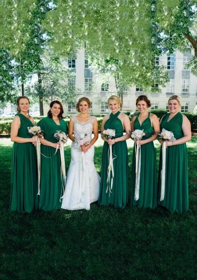 BMbridal Emerald Multiple A-Line Bridesmaid Dresses Long_1