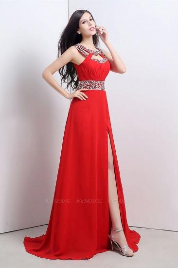 A Line High Slit Long Red Chiffon Beaded Prom Dresses_3