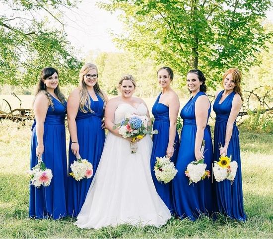 BMbridal Royal Blue Ruffles Multiway Infinity A-Line Bridesmaid Dresses_2