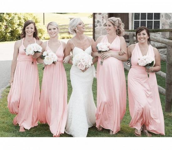 BMbridal Pearl Pink Ruffles Multiway Infinity Bridesmaid Dresses Long