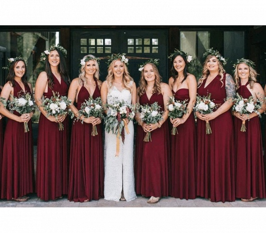 BMbridal Burgundy Multiway Infinity Ruffles A-Line Bridesmaid Dresses_3