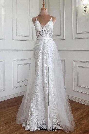 BMbridal Spaghetti-Straps Long Lace Wedding Dress On Sale