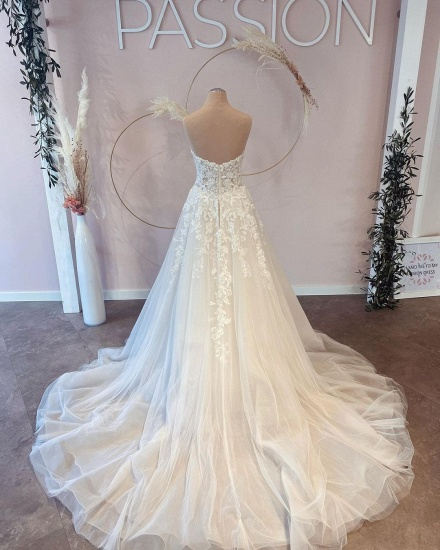 BMbridal V-Neck Sleeveless Lace Wedding Dress Long On Sale_3