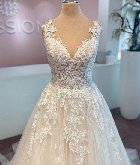 BMbridal A-Line Lace Wedding Dress Sleeveless Long Bridal Gowns_4