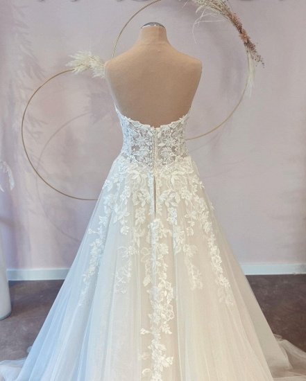 BMbridal V-Neck Sleeveless Lace Wedding Dress Long On Sale_2