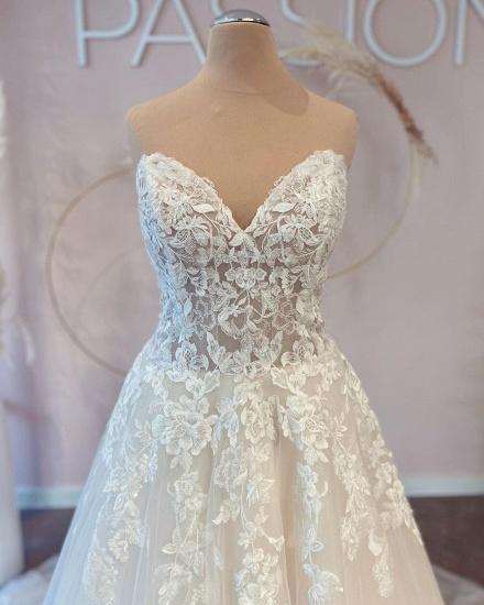 BMbridal V-Neck Sleeveless Lace Wedding Dress Long On Sale_4