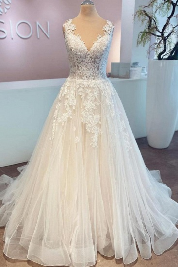 BMbridal A-Line Lace Wedding Dress Sleeveless Long Bridal Gowns