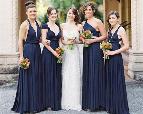 BMbridal Dark Navy Multiway Ruffles Infinity A-Line Bridesmaid Dresses_1