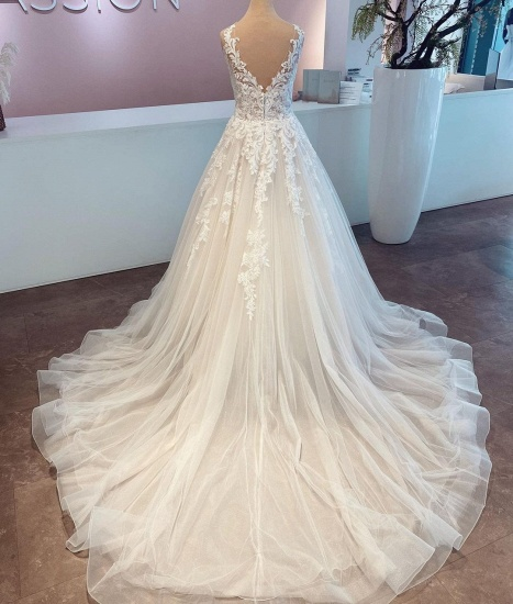 BMbridal A-Line Lace Wedding Dress Sleeveless Long Bridal Gowns_2