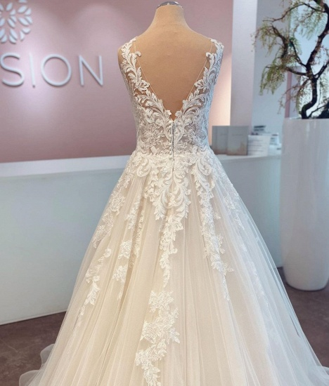 BMbridal A-Line Lace Wedding Dress Sleeveless Long Bridal Gowns_3