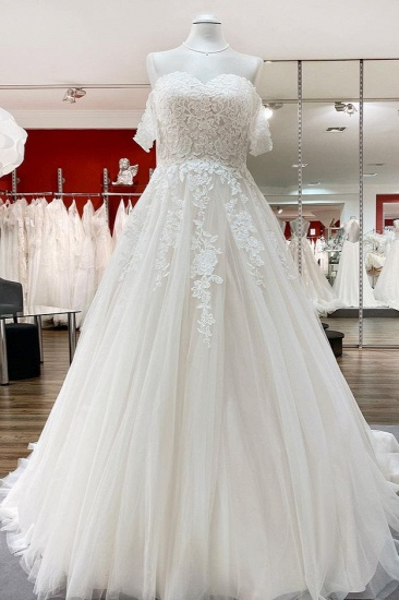 BMbridal Off The Shoulder Tulle Lace Ivory Ruffles A-Line Wedding Dresses