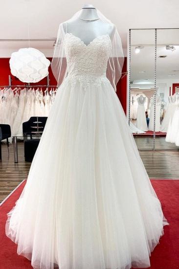 BMbridal Gorgeous Spaghetti Straps Tulle Ivory Lace Wedding Dresses