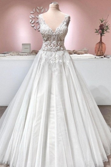 BMbridal Sleeveless Lace Appliques Wedding Dress Long With V-Neck_1