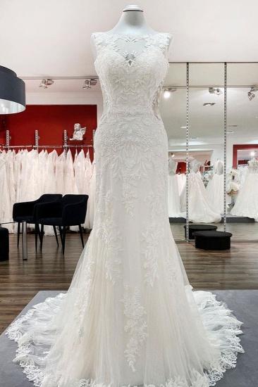 Elegant Tulle White Lace Sleeveless Mermaid Wedding Dresses Long