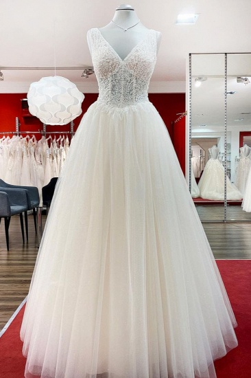 BMbridal Simple Ivory Tulle Lace Ruffles A-Line Wedding Dresses