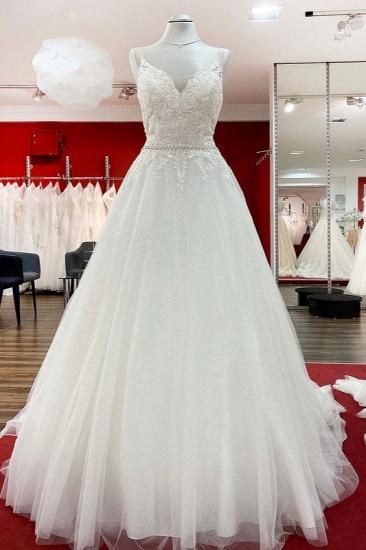 BMbridal Spaghetti Straps Tulle V Neck Ruffles Backless Wedding Dresses