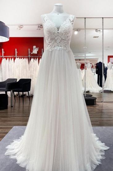 BMbridal Elegant Tulle Lace V Neck Ivory A-Line Wedding Dresses