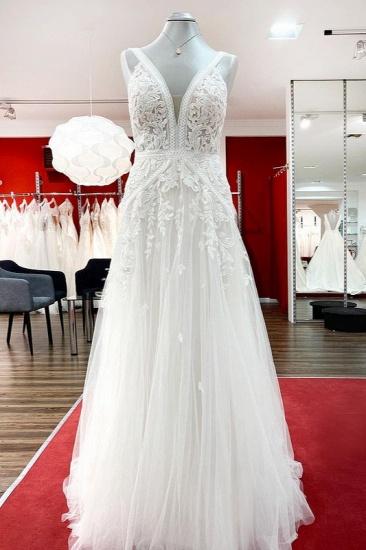 BMbridal Sleeveless Ivory Lace Appliques A-Line Wedding Dresses