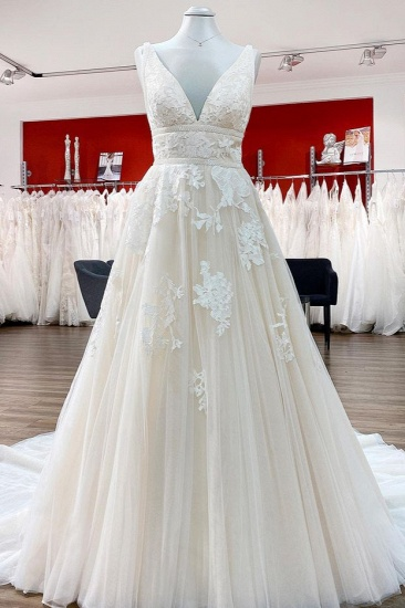 BMbridal Tulle V Neck Sleeveless Ivory A-Line Wedding Dresses With Lace Long
