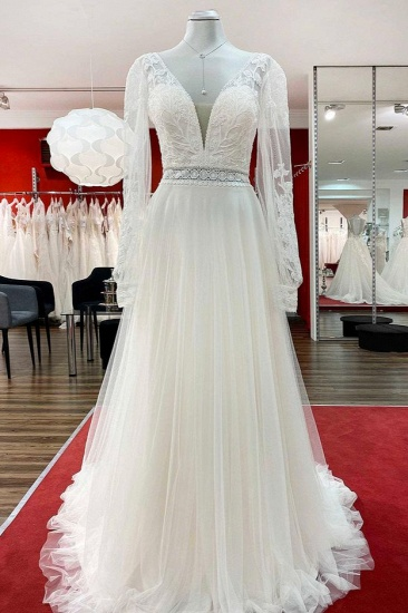 BMbridal Sweetheart Tulle Beadings Lace Appliques Wedding Dresses With Long Sleeves