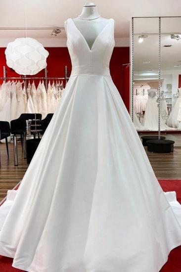 BMbridal Elegant V Neck Satin White Ruffles Wedding Dresses Long