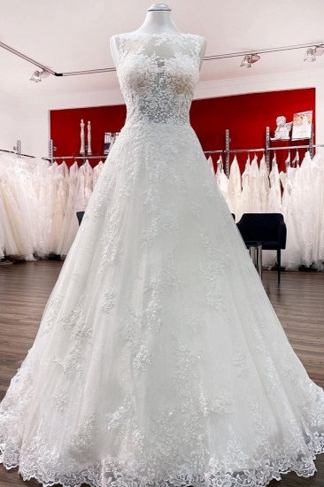 BMbridal Graceful Jewel Tulle Ivory A-Line Wedding Dresses With Lace Appliques